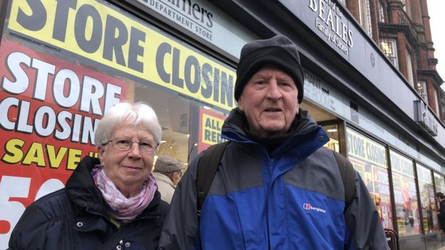 Mary Symonds with her husband Gordon outside Beales in Great Yarmouth.