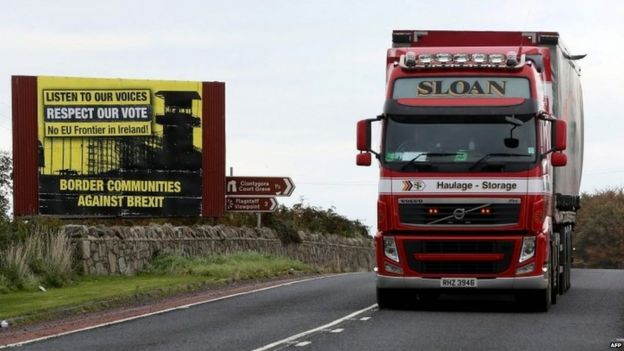 Lorry close to the border between Northern Ireland and the Republic of Ireland