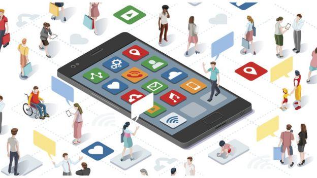Ilustração mostra diversas pessoas usando celulares
