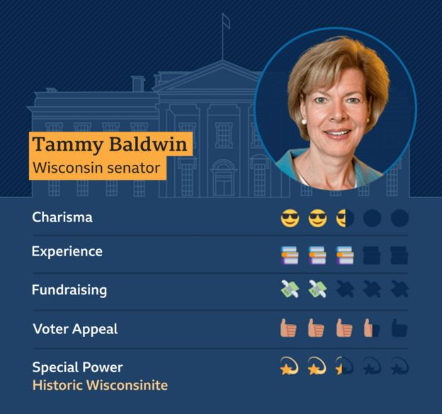 Graphic of Tammy Baldwin, Wisconsin Senator. Charisma - 2.5, Experience - 3, Fundraising - 2, Voter appeal - 3.5, Special Power - Historic Wisconsinite - 2.5