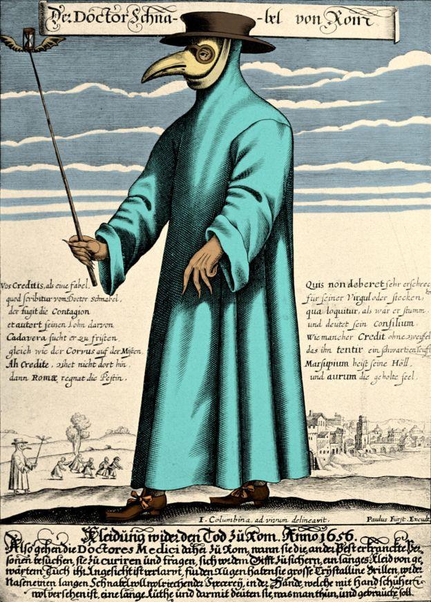 اثر چاپی که دکتر آشنابل رم را در لباس مخصوص پزشکان در دوران طاعون نشان میدهد