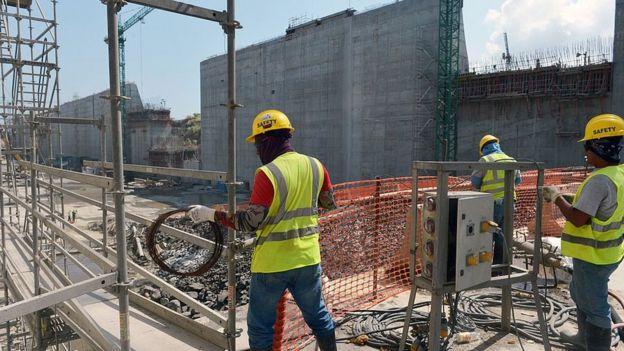 Trabajadores de la construcción en Panamá.
