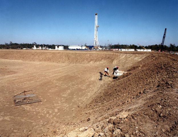 Una de las cuevas subterráneas del depósito en Luisiana de la Reserva Estratégica Petrolera de Estados Unidos.