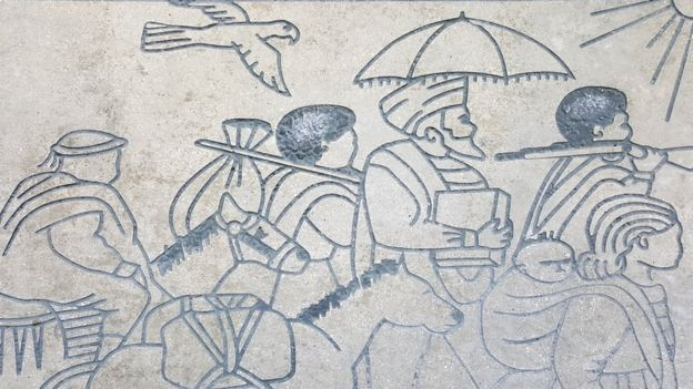 Frieze depicting Ethiopian Jews on journey to Sudan