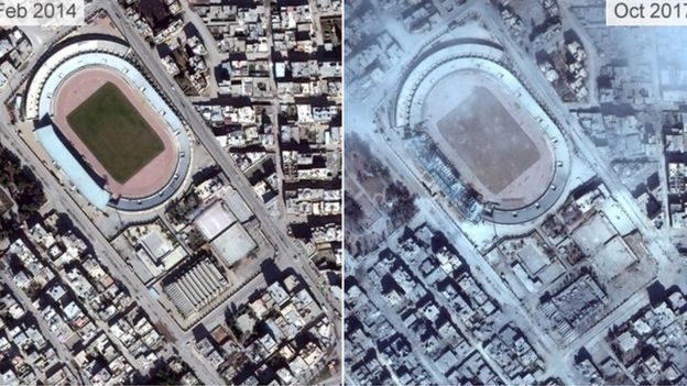 Pictures from 2014 and 2017 show the destruction of Raqqa's stadium