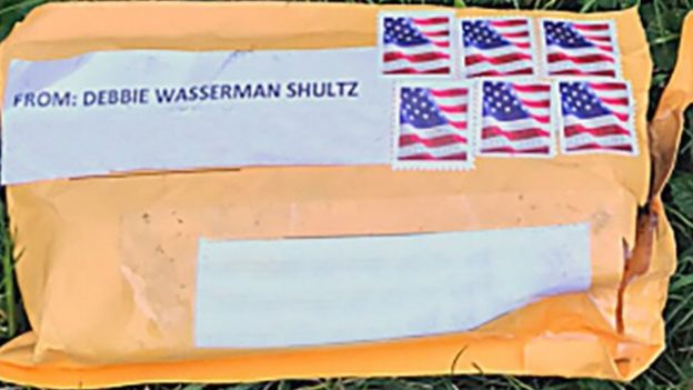 One of the manila envelopes with a label with Debbie Wasserman Schultz's name
