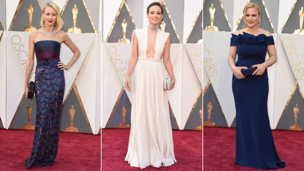 Naomi Watts (l) and Patricia Arquette (r) went for shades of blue and purple, with Olivia Wilde (c) in white dress - Red Carpet Oscars 2016 Image-Photo