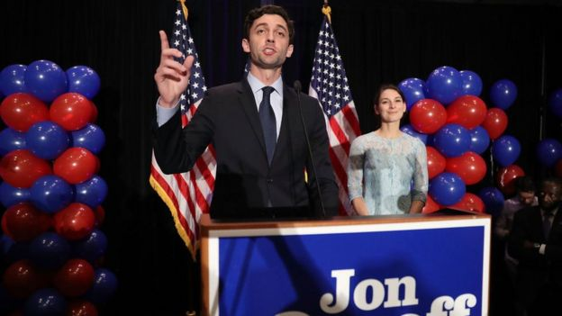 Democratic candidate Jon Ossoff delivers a concession speech on election night.
