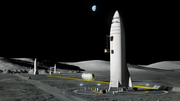 Ilustração de base na Lua