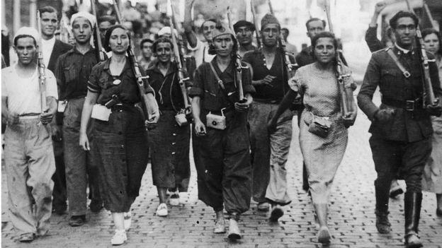 Mujeres milicianas en el bando republicano.