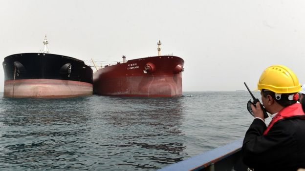 Two oil tankers at Iran's Port of Kharg Island oil terminal