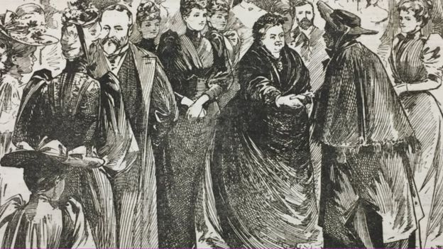 Ilustración de un diario del encuentro entre la reina y la antigua esclava.