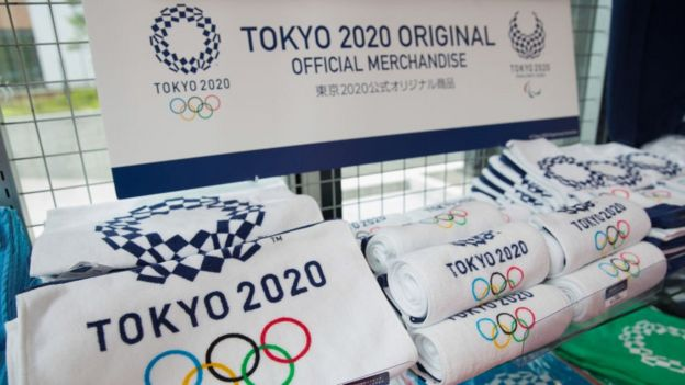 Tokyo 2020 Olympic Games merchandise inside an Olympic Games and Paralympic Games gift shop in Shinjuku