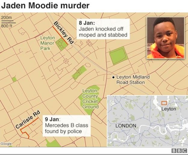 Map showing the locations of the Jaden Moodie murder inquiry