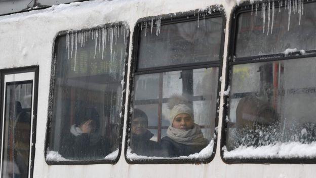 A freezing tram in Bucharest, 11 Jan 16