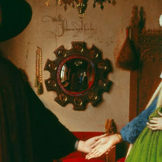 Detalle del espejo de El Matrimonio Arnolfini.