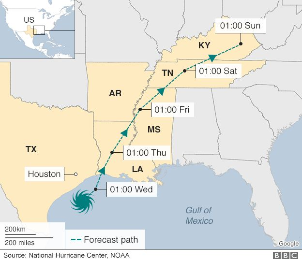 Projected path of tropical storm Harvey - 29 August 2017