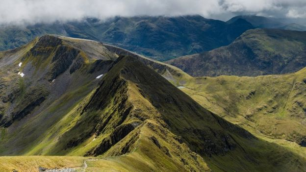 The Mamores mountain range in the Scottish Highlands