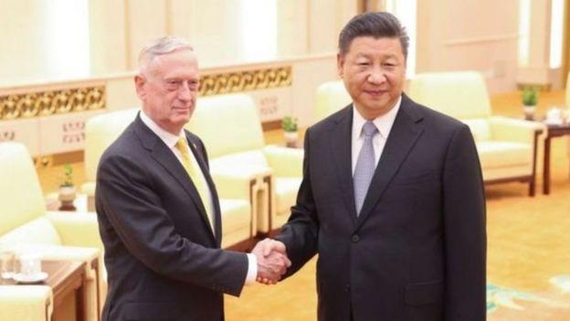 ماتيس (يسارا) التقى الرئيس شي جينبينغ خلال زيارة التي تستغرق ثلاثة أيام