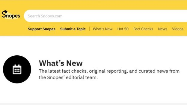 Snopes website