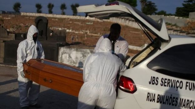 Funeral de vítima de covid-19 em cemitério do Rio de Janeiro