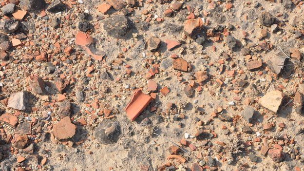 Broken pieces of Indus pottery exposed at the surface at Kalibangan