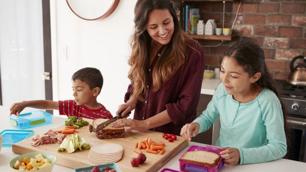 Family prepare food together