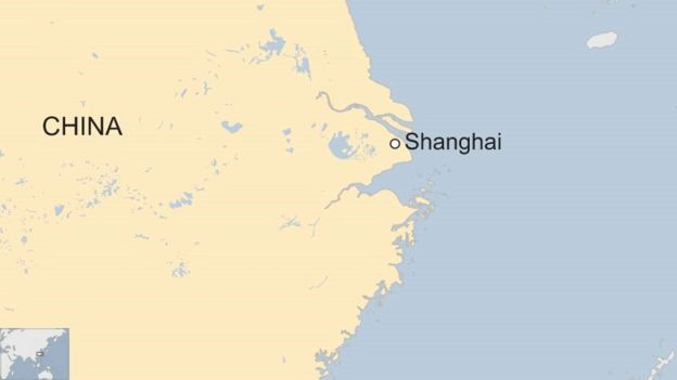 Map of China showing Shanghai