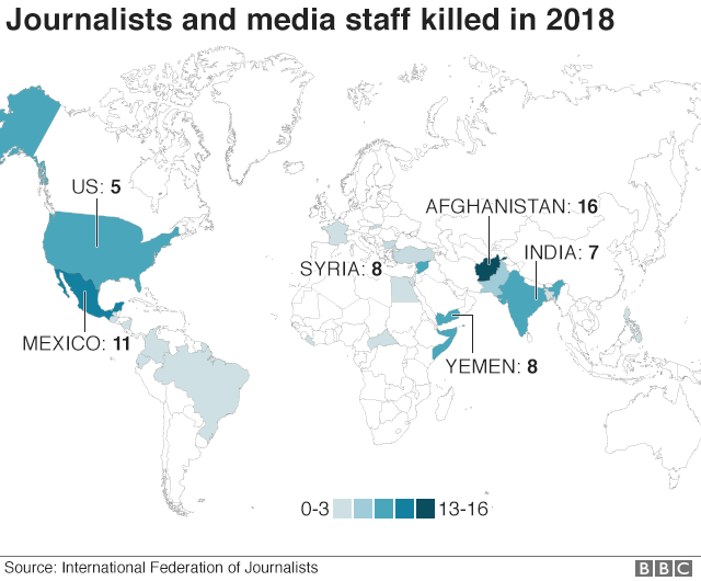 Global map showing countries with highest number of media deaths in 2018