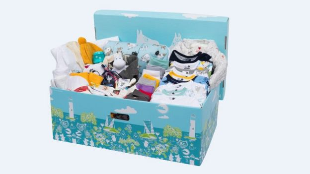 A Moomin-themed Finnish baby box