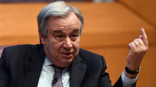 UN Secretary-General Antonio Guterres speaks on climate change at the New York University Stern School of Business, in New York on May 30, 2017