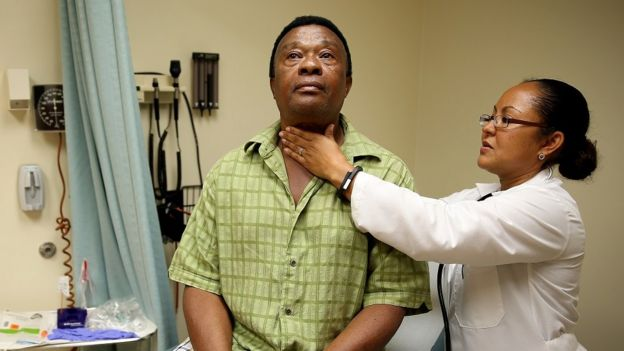 A Florida man newly covered by Medicaid sees a doctor.