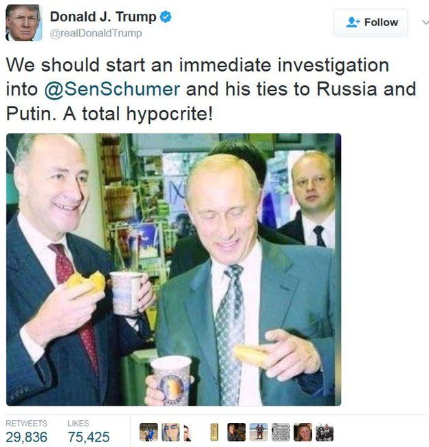 """Trump tweet: """"We should start an immediate investigation into @SenSchumer and his ties to Russia and Putin. A Total hypocrite"""""""