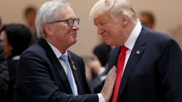 European Commission president Jean-Claude Juncker and US President Donald Trump