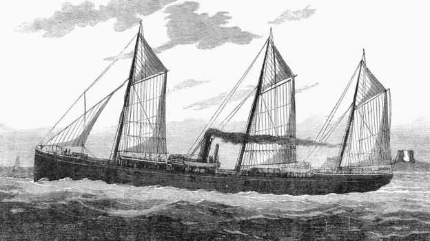 An engraving showing Charles Tellier's ship Le Frigorifique