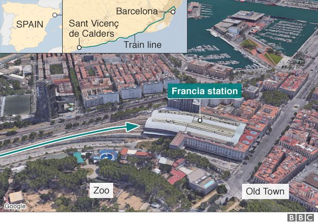 Map showing Francia station in Barcelona