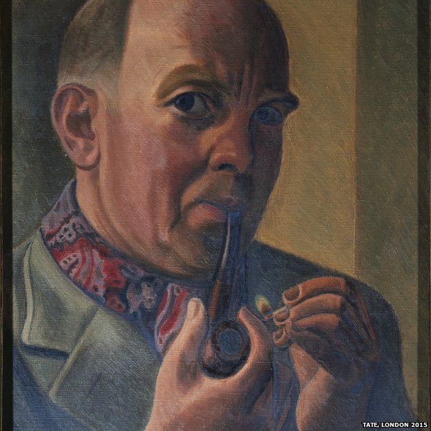 Portrait of a Man Lighting a Pipe - William Roberts