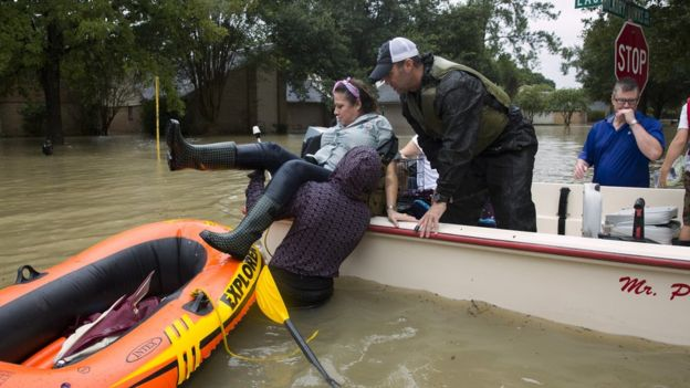 Houston residents are rescued after flooding caused by heavy rain during Hurricane Harvey August 29, 2017