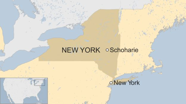 Map shows the location of Schoharie in the US state of New York