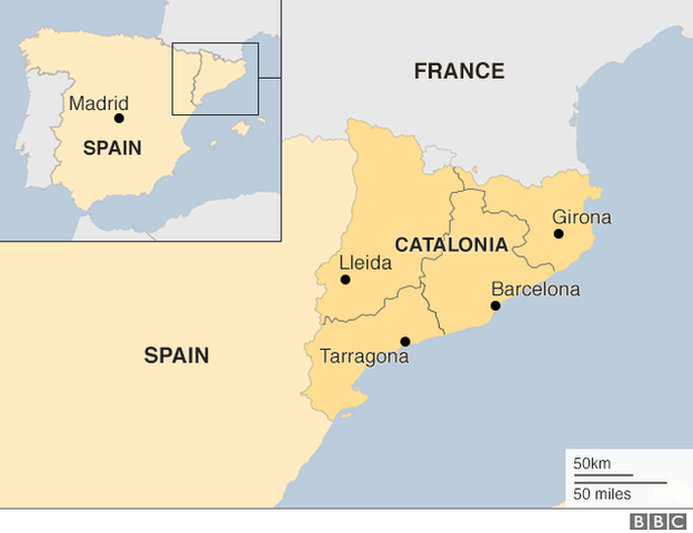 Map Of Spain With States.Catalonia Crisis In 300 Words Bbc News