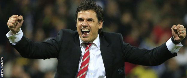 Chris Coleman celebrates a Wales goal