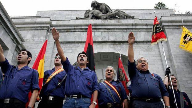 Manifestación fascista en el Valle de los Caídos
