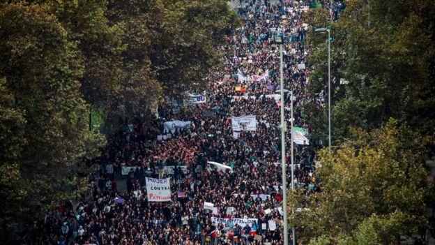 Manifestantes en Santiago de Chile