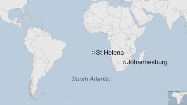 St Helena On World Map.First Commercial Flight Lands On Remote St Helena Bbc News