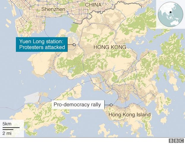 Map of Hong Kong showing Yuen Long station north of the protest site