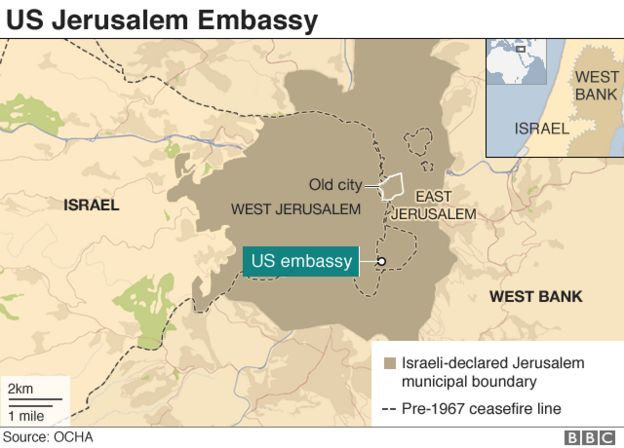 US Jerusalem embassy map
