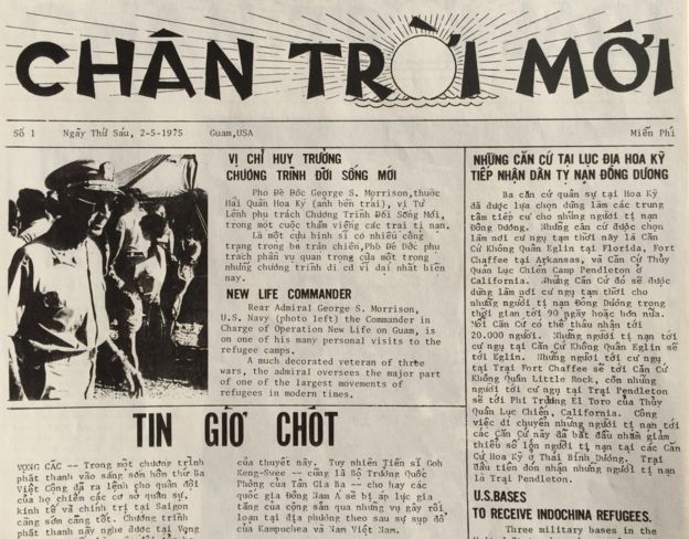 Báo Chân Trời Mới phát hành trong trại tị nạn ở Guam, số đầu tiên ngày 2/5/1975 (Ảnh: Bùi Văn Phú)
