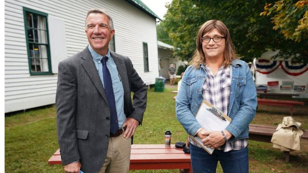 Vermont Governor Phil Scott and his Democratic challenger Christine Hallquist before a debate at a fair