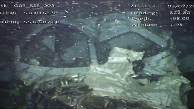 Imagen de los restos del avión en el fondo del Canal de la Mancha suministrada por la AAIB.