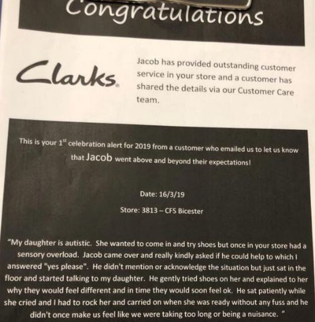 16cf14e64d6a5 Congratulations note from Clarks shoes outlining the email of thanks from  the customer who was helped